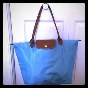 Longchamp Le Pliage Large blue zip tote like new!